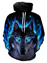Men\'s Plus Size Hoodie Wolf 3D / Animal Print Hooded Long Sleeve Blue S M L XL XXL XXXL / Spring / Winter