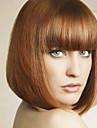 Syntetiska peruker Rak Rak Bob-frisyr Med lugg Peruk Mellan Ljusbrun Syntetiskt hår Dam Med Bangs Brun