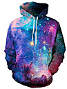 Men\'s Plus Size Active Long Sleeve Hoodie - Galaxy / 3D Hooded Purple XL / Spring / Winter