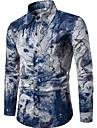 Men\'s Shirt Abstract Print Long Sleeve Slim Tops Linen Chinoiserie Spread Collar Blue