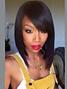 Mistura do cabelo humano Peruca Medio Ondulado Kinky Liso Corte Bob Com Franjas Kinky Liso Ondulado Parte lateral Fabrico a Maquina Mulheres Preto Natural 12 polegadas