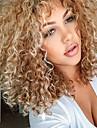 Syntetiska peruker Lockigt Lockigt Med lugg Peruk Blond Mellan Blond Syntetiskt hår Dam Sidodel Med Bangs Blond