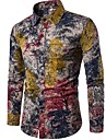 Men\'s Shirt Trees / Leaves Long Sleeve Going out Tops Chinoiserie Boho Standing Collar Rainbow / Club