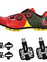 SIDEBIKE Vuxna Cykelskor med pedaler och klossar MTB-skor Kolfiber Anti-halk Cykelsport Svart / röd Grön / Svart Herr Cykelskor / Syntetiskt Microfiber PU