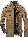 בגדי ריקוד גברים ג\'קט יומי סוף שבוע חורף רגיל מעיל עומד רגיל צבאי Jackets שרוול ארוך אחיד ירוק צבא חאקי שחור / כותנה