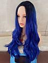 Syntetiska peruker Vågigt Vågigt Peruk Lång Svart / Blå Syntetiskt hår Mittbena Blå