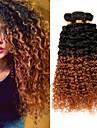 3 paket Brasilianskt hår Kinky Curly Obehandlad hår Nyans Nyans Hårförlängning av äkta hår Människohår förlängningar / 10A / Sexigt Lockigt