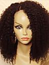 Äkta hår Halvnät utan lim Spetsfront Peruk stil Brasilianskt hår Kinky Curly Peruk 130% Hårtäthet med babyhår Naturlig hårlinje Afro-amerikansk peruk 100% Jungfru obearbetade Dam Korta Mellan Äkta