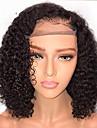 Äkta hår Halvnät utan lim Spetsfront Peruk Bob-frisyr stil Brasilianskt hår Lockigt Peruk 130% Hårtäthet med babyhår Naturlig hårlinje Afro-amerikansk peruk 100% Jungfru obearbetade Dam Korta Äkta