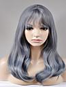 Syntetiska peruker Naturligt vågigt Naturligt vågigt Peruk Lång Grå Syntetiskt hår Dam Grå