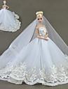 Dollklänning För Barbie Broderi Ensfärgat Himmelsblå Röd Silver+Grå Bomullsblandning För Flicka Dockleksak