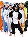 Barn Kigurumi-pyjamas Giraff Djurmönstrad Onesie-pyjamas Flanell Grön / Vit / Orange Cosplay För Pojkar och flickor Pyjamas med djur Tecknad serie Festival / högtid Kostymer