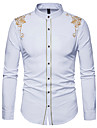 Men\'s Shirt Floral Basic Long Sleeve Business Slim Tops Work Casual / Daily Standing Collar Wine White Black / Spring