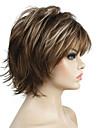 Syntetiska peruker Lockigt Lockigt Peruk Korta Ljusbrun Syntetiskt hår Dam Faux Locs Wig 100% kanekalon hår Naturlig hårlinje Brun StrongBeauty
