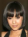 Syntetiska peruker Naturligt vågigt Kardashian Stil Bob-frisyr Utan lock Peruk Svart Svart Syntetiskt hår Svart Peruk Mellan StrongBeauty