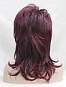 Syntetiska peruker Vågigt Vågigt Frisyr i lager Med lugg Peruk Mellan Svart / Vinröd Syntetiskt hår Dam Sidodel Röd Hivision