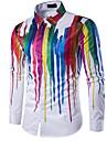 Men\'s Shirt Geometric Print Long Sleeve Daily Slim Tops Classic Collar White / Summer