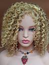 Syntetiska peruker Vågigt Kinky Curly Sexigt Lockigt Vågigt Sidodel Peruk Blond Korta Blond Syntetiskt hår 16 tum Dam Blond