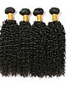 4 paket Brasilianskt hår Lockigt Klassisk Kinky Curly Äkta hår Human Hår vävar Hårförlängning av äkta hår Människohår förlängningar / 8A / Sexigt Lockigt