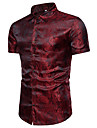 Men\'s Shirt Solid Colored Short Sleeve Daily Tops Luxury Standing Collar White Purple Wine / Summer