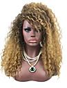 Syntetiska peruker Kinky Curly Jerry Lockigt Sexigt Lockigt Jerry Curl Med lugg Peruk Beige Syntetiskt hår Ombre-hår Afro-amerikansk peruk Svart Brun