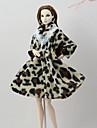 Doll Outfit Doll Coat Kappor För Barbie Leopard Kaffe Flanell Polyester Kappa För Flicka Dockleksak