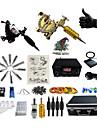 BaseKey Professionell Tattoo Kit Tattoo Machine - 2 pcs Tatueringsmaskiner, Justerbar Volym / Professionell Legering 20 W LED strömförsörjning 2 x legering tatuering maskin för lining och skuggning