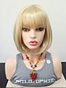 Syntetiska peruker Rak Bob-frisyr Med lugg Peruk Blond Mellan Blond Syntetiskt hår 14 tum Dam Värmetåligt Med Bangs Blond