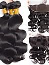 3 paket med stängning Peruanskt hår Kroppsvågor Obehandlad hår Hårförlängningar av äkta hår Hår Inslag med Stängning 8-22 tum Naurlig färg Hårförlängning av äkta hår 100% Jungfru Människohår