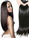 4 paket Peruanskt hår Rak Äkta hår Obehandlat Mänsligt hår Human Hår vävar bunt hår Hårförlängningar av äkta hår 8-28 tum Naturlig Naurlig färg Hårförlängning av äkta hår Silkig Len Vackert / 8A