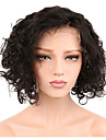 Remy-hår Hel-spets Peruk Bob-frisyr Kort Bob stil Brasilianskt hår Lockigt Peruk 130% Hårtäthet med babyhår Naturlig hårlinje Blekt knutar Dam Korta Äkta peruker med hätta