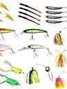 22 pcs Fiskbete Hårt bete Mjukt bete Spinnfluga Skedar Lock förpackningar Sjunker Bass Forell Gädda Sjöfiske Färskvatten Fiske Drag-fiske Plastik Metall