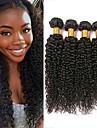 4 paket Brasilianskt hår Kinky Curly Äkta hår Human Hår vävar Hårförlängningar av äkta hår 8-28 tum Naurlig färg Hårförlängning av äkta hår Dam Förlängning Bästa kvalitet Människohår förlängningar