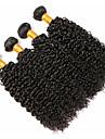 4 paket Peruanskt hår Lockigt Äkta hår Human Hår vävar Förlängare bunt hår 8-28 tum Svart Naurlig färg Hårförlängning av äkta hår Mjuk Vävd Naturlig Människohår förlängningar / 8A
