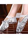 Flickor Dansskor Imitationsläder Balettskor Platta Guldpläterad genomskinlig häl Går att specialbeställas Guld / Silver / Prestanda