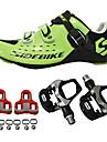 SIDEBIKE Vuxna Cykelskor med pedaler och klossar Skor för vägcykel Kolfiber Stötdämpande Cykelsport Grön Herr Cykelskor / Andningsbart Nät