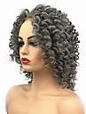 Syntetiska snörning framifrån Lockigt Middle Part Spetsfront Peruk Mellan Grå Syntetiskt hår Dam Afro-amerikansk peruk Till färgade kvinnor Mörkgrå StrongBeauty