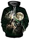 Men\'s Plus Size Hoodie Wolf 3D / Cartoon Print Hooded Basic / Exaggerated Long Sleeve Loose Black S M L XL XXL XXXL / Fall / Winter