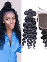 3 paket med stängning Peruanskt hår Löst vågigt Obehandlad hår Hår Inslag med Stängning 10-30 tum Hårförlängning av äkta hår Heta Försäljning Människohår förlängningar