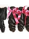 3 paket med stängning Malaysiskt hår Vågigt Äkta hår Human Hår vävar Hårförlängningar av äkta hår Hår Inslag med Stängning 8-22 tum Naurlig färg Hårförlängning av äkta hår Bästa kvalitet Heta / 8A