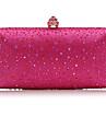 Dam Kristalldetaljer Satin Aftonväska Rhinestone Crystal Evening Bags Rodnande Rosa / Fuchsia / Silver