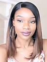 Obehandlad hår Halvnät utan lim Spetsfront Peruk Bob-frisyr Rak lugg Rihanna stil Brasilianskt hår Rak Yaki Nyans Peruk 130% Hårtäthet med babyhår Ombre-hår Naturlig hårlinje Afro-amerikansk peruk