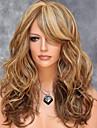 Syntetiska peruker Kroppsvågor Vågigt Frisyr i lager Peruk Blond Mellan Brun Syntetiskt hår 20 tum Dam Sidodel Med Bangs För europeisk Blond