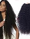 3 paket Brasilianskt hår Lockigt Äkta hår Human Hår vävar Förlängare 8-28 tum Svart Naurlig färg Hårförlängning av äkta hår Heta Försäljning 100% Jungfru curling Människohår förlängningar / 8A