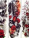 3 pcs tillfälliga tatueringar Djurserier / Blomserier Lena klistermärken / Miljövänlig / Engångsvara Body art arm / Dekalstil tillfälliga tatueringar