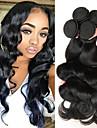 4 paket Indiskt hår Kroppsvågor Äkta hår Obehandlat Mänsligt hår Human Hår vävar En Pack Lösning Hårförlängningar av äkta hår 8-28 tum Naurlig färg Hårförlängning av äkta hår Mjuk Tjock Till färgade