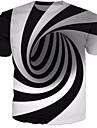 男性用 Tシャツ シャツ 3D プリント 半袖 日常 スリム トップの リネン ラウンドネック ブラック / 夏