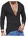 Męskie Podkoszulek Koszula Graficzny Solidne kolory Długi rękaw Codzienny Najfatalniejszy Len Podstawowy Biały Czarny