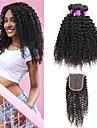 3 paket med stängning Peruanskt hår Lockigt Äkta hår Human Hår vävar En Pack Lösning Hårförlängningar av äkta hår 8-22 tum Naturlig Naurlig färg Hårförlängning av äkta hår Bästa kvalitet 100 / 8A