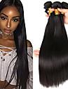 4 paket Indiskt hår Rak Äkta hår Human Hår vävar Förlängare Hårförlängningar av äkta hår 8-28 tum Svart Naurlig färg Hårförlängning av äkta hår Förlängning Naturlig Bästa kvalitet Människohår / 8A